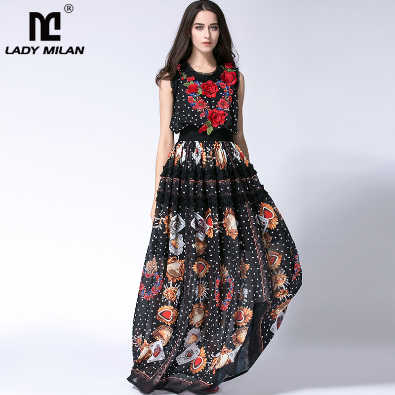 Lady Milan 2019 Women's O Neck Sleeveless Embroidery Ruffles Printed Long Prom Elegant Maxi Runway Dresses