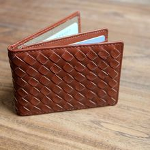 ALAVCHNV Japanese hand-woven imported goat leather three fold leather driver's license package card card sets of SN025