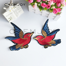 1Pair of Flying Bird Embroidered Patches Sewing On Applique Cute Fabric Patch Clothes Shoes and Bags DIY Decoration Patches(China)