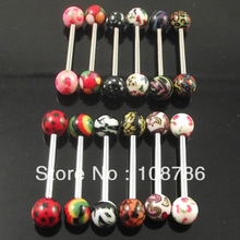 wholesale 60pcs1.6*16*6/6mm mixed logo Thermal Transfer print acrylic piercing barbell tongue ring free shipping