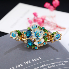 New Fashion Hair Jewelry Retro Enamel Flower Hair Barrettes Crystal Butterfly Hair Clip Women Hair Accessories