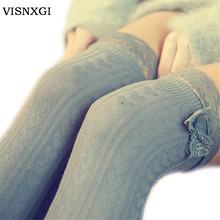 Fashion Sexy Warm Thigh High Over The Knee Socks Long Cotton Stockings For Girls Lady Women Sexy Retro Heart Vertical Lace W042