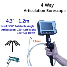 2.8mm 4 Way Direction 1.2M Rotational Inspection Camera Industry Endoscope Video Borescope 4.3inch LCD USB SD Card ,VD-4ED28(China)