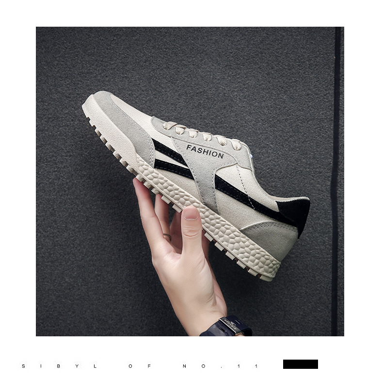 New Fashion Casual Flat Vulcanize Shoes For Men Breathable Lace-up Shoes Footwear Striped Shoes Flax And Cattle Cross Stitching 31 Online shopping Bangladesh