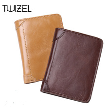 Genuine Leather Men Wallet Male Vintage Short Wallets Card Holders Luxury Brand Top Quality Purses Carteira Masculina HQB1841