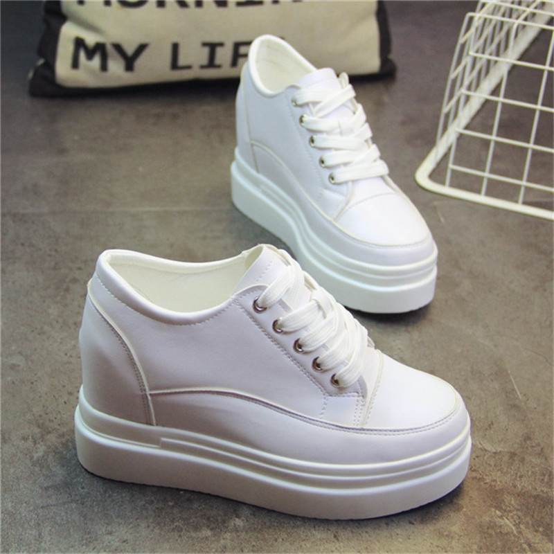 SWYIVY White Sneakers Shoe Female Height Increase 10cm 2019 SpringThick Bottom Muffin Student Casual Women