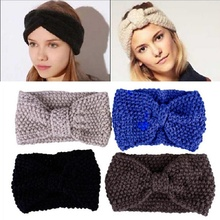 1 pc Crochet Flower Bow Knit Knitted Headband Hairbands Headwrap Ear Warmer Hair Head Bands Accessories