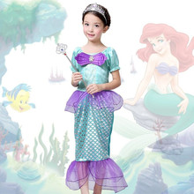 The Little Mermaid Kids Girls Dress Princess Cosplay Halloween Costume Hot(China)