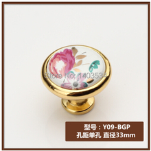 Dia.33mm ceramic Zinc alloy golden color Modern knob cabinet knob drawer pulls tulip flower print(China)