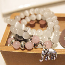 Fashion jewelry natural pink white opal beads with elephant pendant vintage women bracelet jewelry brand design pearl beads 0265