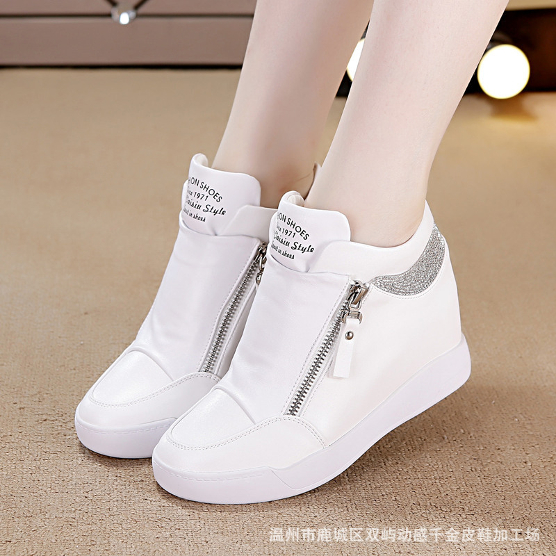 SWYVIY White Shoes Platform Woman Rhinestone Side Zipper High Top Female Sneakers Increased Wedge Casual Shoes New Spring Shoes