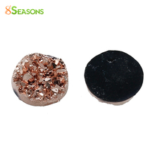 "8SEASONS drusy Resin Dome Seals Cabochon Round Champagne 12mm( 4/8"") Dia, 50 PCs(China)"