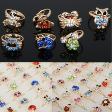 10pcs/lot Cute Animal Rhinestone Crystal Rabbit Bear Butterfly Adjustable Kids Rings(China)