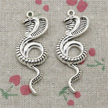 2pcs Charms king cobra snake Antique Silver Pendant Zinc Alloy Jewelry DIY Hand Made Bracelet Necklace Fitting 49*19mm