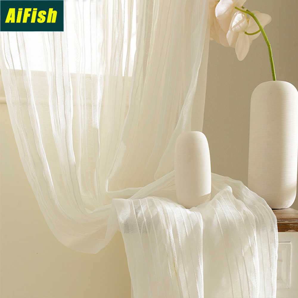 Modern Style Vertical Stripes Sheer Voile Curtains for Living Room Solid White Window Treatment Draperies Curtain Tulle WP277&2