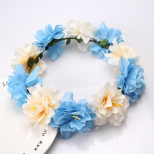 M MISM Beauty Big Flower Wreath Wedding Bridal Crown Headband Women Hair Accessories Hair Band Hair Clasp Girls Floral Headdress