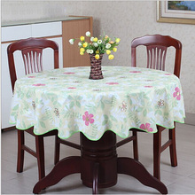 Pastoral style wave table cloth PVC plastic table cloth round table home table cover decoration waterproof