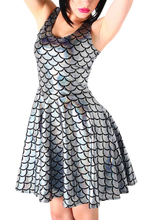 E161Hot Sale Women Silver Lining Skater Dress Punk Rock Style Dresses Fashion Party Dress Mermaid