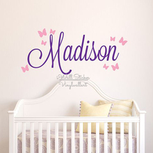 Girls Name Wall Sticker Baby Nursery Name Butterfly Wall Decal Personalized Name Stickers For Kids Room Cut Vinyl Stickers C14