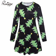 Ruiyige 2017 Winter Christmas Dress Women Round Neck Xmas Tree Print Pleated Elastic Mini Party Dating Holiday Dresses Elegant