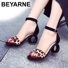 BEYARNE Leopard Fashion Brands Sandals Horse Hair Strange Style Buckle Strap Party Pumps Yellow Sexy Ankle Strap Woman Shoes