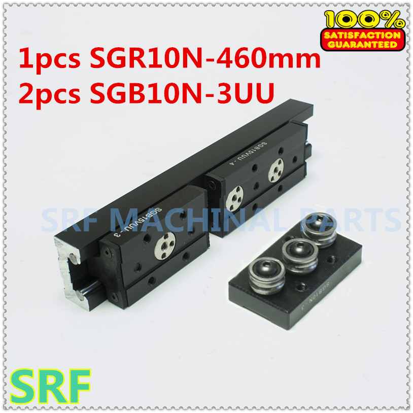 High quality Aluminum Square Roller Linear Guide Rail 1pcs SGR10N Length=460mm +2pcs SGB10N-3UU three wheel slide block<br>
