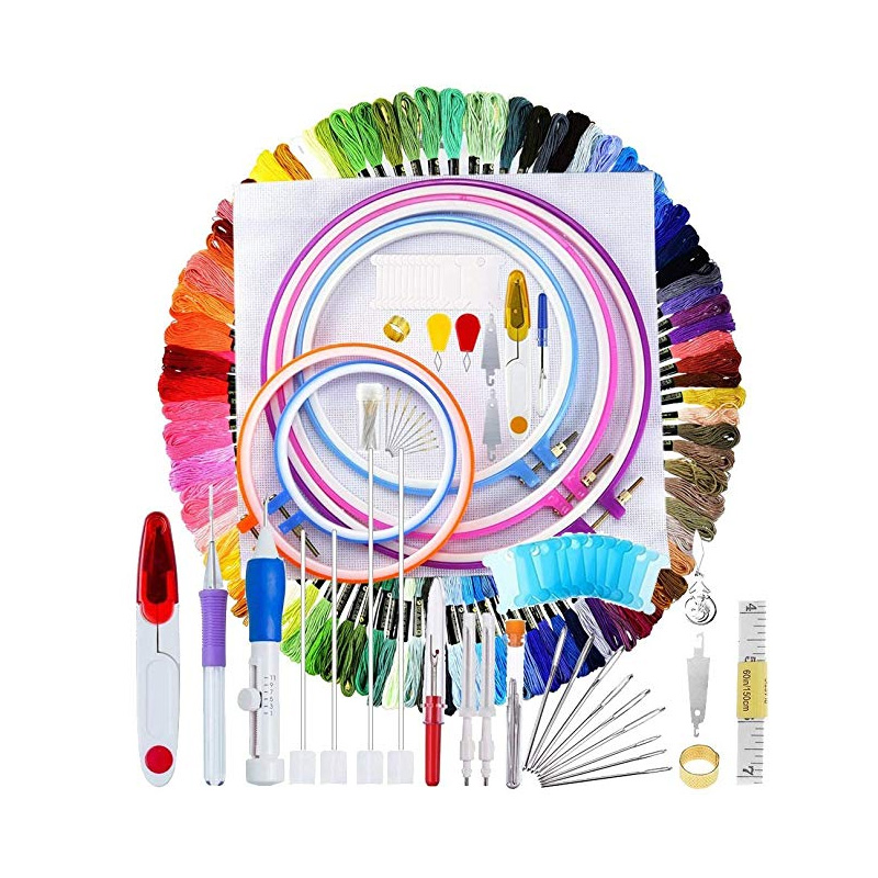 Craft DIY-140 Pcs/Set Magic Patterns Punch Needle Kit Craft Tool Embroidery Pen Set, title=