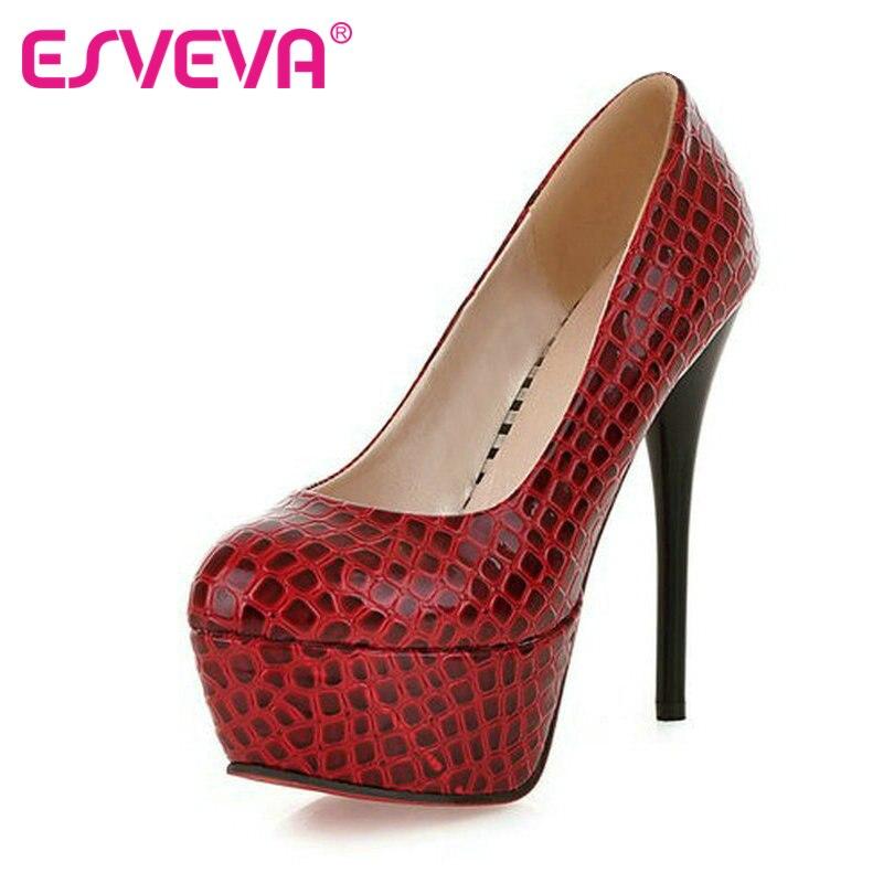 ESVEVA Embossed leather Women Pumps 14 cm Red thin High Heels Sexy women pumps Ladies Platform Wedding Shoes Big size 34-43<br><br>Aliexpress