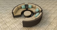 2017 outdoor crystal furniture rattan round sectional sofa set french style(China)