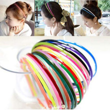 Wholesale 50Pcs 4MM Plastic Teeth Hairbands Lady Girl Colorful Hairband Candy Color Alice Band Children Hair Accessories
