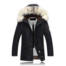 Nuovo Casual di Marca Bianco Anatra Imbottiture Rivestimento Degli Uomini  di Inverno Caldo Cappotto Lungo di 75a7e174fff