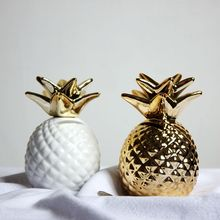 12x9x9 Golden/white pineapple ceramic ornaments pineapple save money box gold coin Piggy bank storage home decoration oranements(China)
