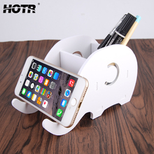 Home Style Elephant Phone Holder Live Show Mobile Phone Holder with Stationery Box Painting Pen Storage Detachable Stand Holder