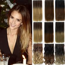 "Women'Fashion Clip In Hair Extension 24"" 5 Clips Straight Synthetic Hairpieces Ombre Colored Cheveux Extension 2 styles B40"