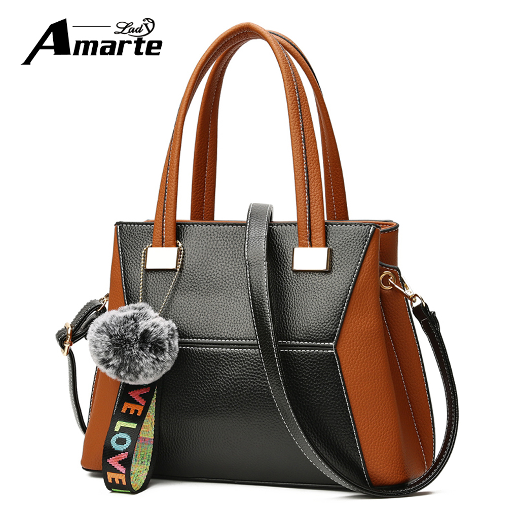 Amarte Women Hairball Ornaments Totes Panelled Handbag Hotsale Party Ladies Messenger Crossbody Ribbons Shoulder Bags 2018<br>