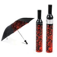 Portable Creative Fashion Three Folding Wine Bottle Sun-rain Umbrella Gift ren flower printed Rain Gear(China)