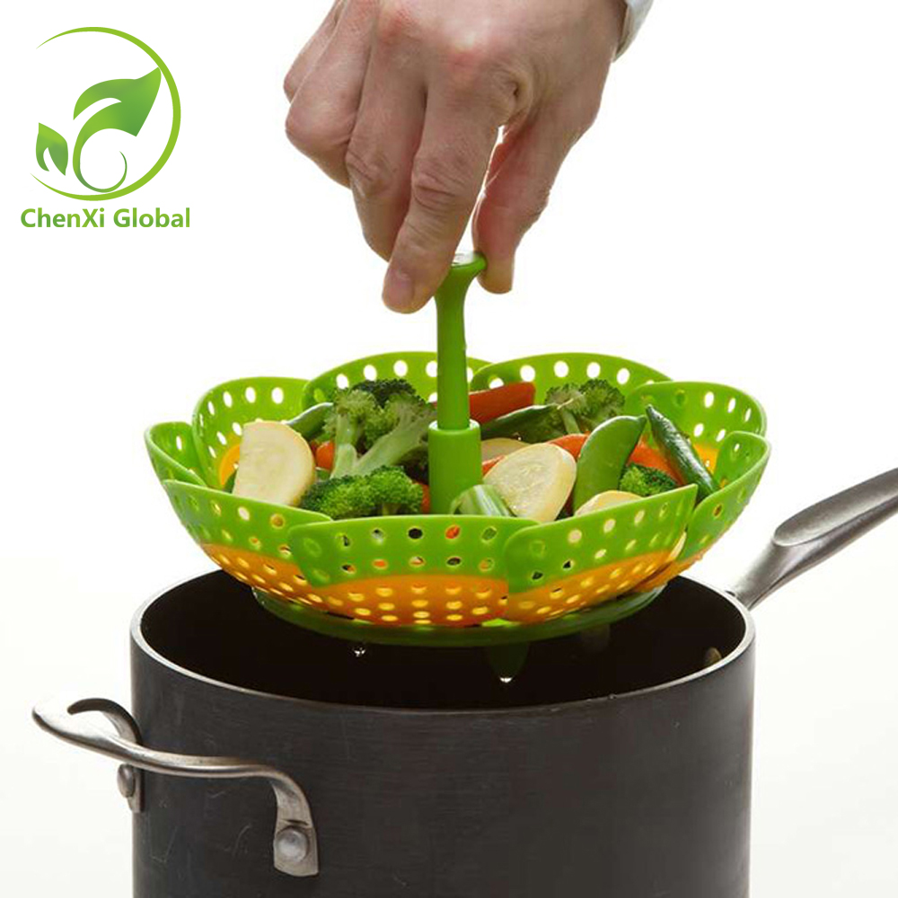 Multifunctional Stackable Design Nylon And Silicone Steamer Folding Fruit Bowl Steaming Rack Silicone Folding Steamer Cookware(China (Mainland))