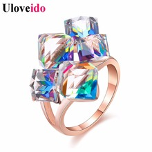 Uloveido Ladies Fashion Blue Engagement Rings for Women Luxury Vintage Cristales Ring with Stones Anneaux Pour Les Femmes GR123(China)