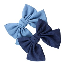 Women's cospay Korea Blue Hair Decorate Bow Fringe Hairpin Imported Cloth. Solid Color Super Girls Hair Clip Edge Ornaments