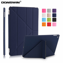 for ipad air 2 case,dowswin ultra slim pu leather for ipad air 2 cover with hard plastic back cover flip case +small gift(China)
