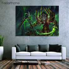 1 piece canvas art canvas painting world of warcraft worgen warlock home decor poster wall pictures for living room XA1694D