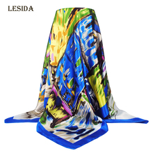 [LESIDA] 2016 NEW 90x90cm Silk Square Scarf Women Fashion Brand High Quality Cheap Imitated Satin Scarves Polyester Shawl DF9018