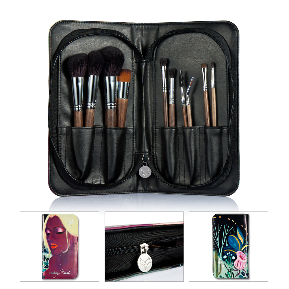 HUAMIANLI 10pcs/set Top Quality Make Up Brush Animal Hair Syntehtic Hair Wood Handle Conveniently Portable Make Up Brush Set<br>