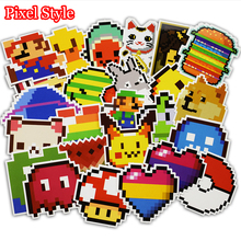25 Pcs Pixel Style Cartoon Stickers for Laptop Phone Luggage Skateboad Car Stying Bicycles Motorcycle Graffiti Decal Pvc Sticker(China)