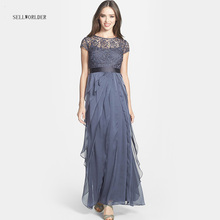 Buy SELLWORLDER Women 2017 Spring Summer Short-sleeve Lace Patchwork Dress Royal Luxury Formal Floor-length Vestidos for $36.80 in AliExpress store