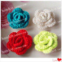 2016 new arrival zakka fashion cotton crochet lace 3D artificial rose flower for wedding decoration as home accessories chic(China)