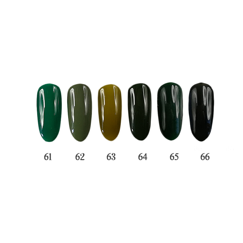 3 steps 6PCS 12ml Nail Gel Kit UV/LED Odorless safety suitable for salon and do it at home QBEKA 61~66 Black forest<br>