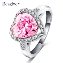 Beagloer Brand Pink Heart Ring Romantic Classic Silver Color AAA Cubic Zirconia Finger Ring CRI0056-B