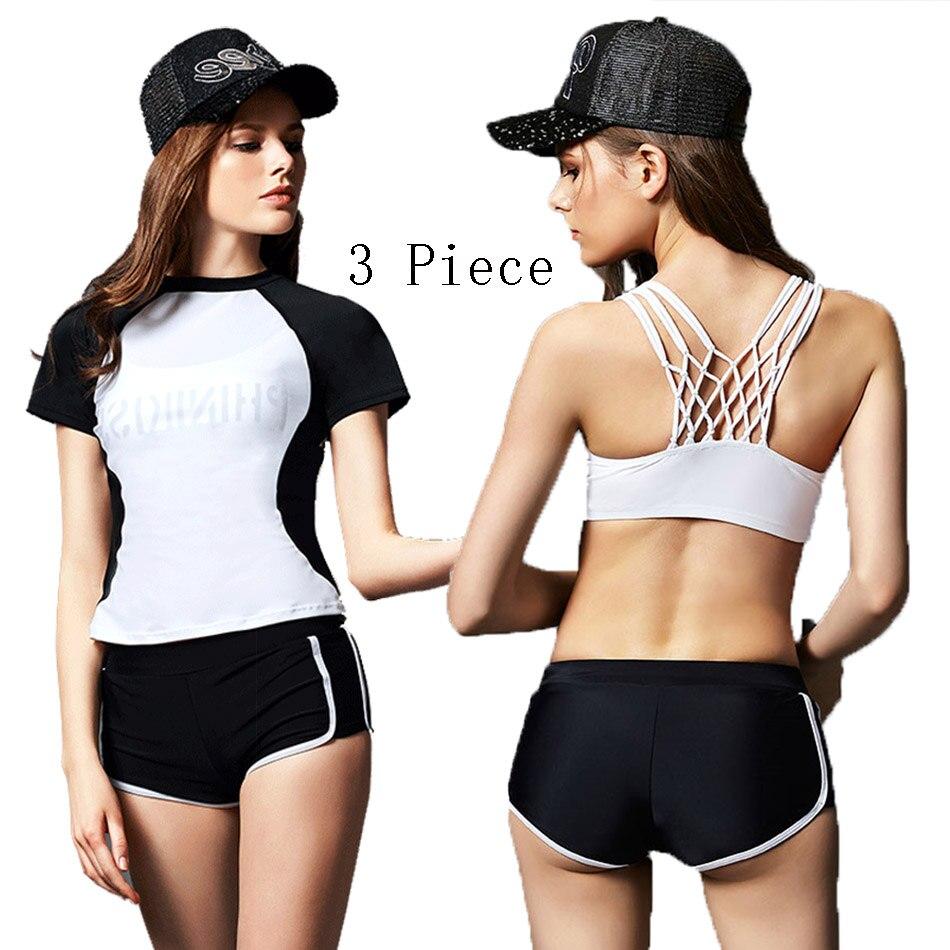 Swimwear Female 3 Pieces Bikini Set 2017 Tankini Swimsuit With Shorts Bathing Suit Women Sports Beach Wear Biquini Swim Suit<br>