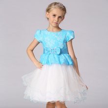 Retail China style kid girl dress fake two piece three color girl princess party dress girl lace dress with bow   L15099